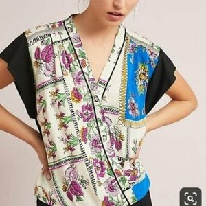 """Anthropologie """"Tiny"""" Cara Floral Faux Wrap Top"""